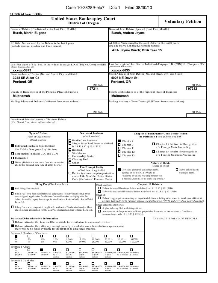 Case 10-38289-elp7                            Doc 1               Filed 08/30/10B1 (Official Form 1)(4/10)                ...