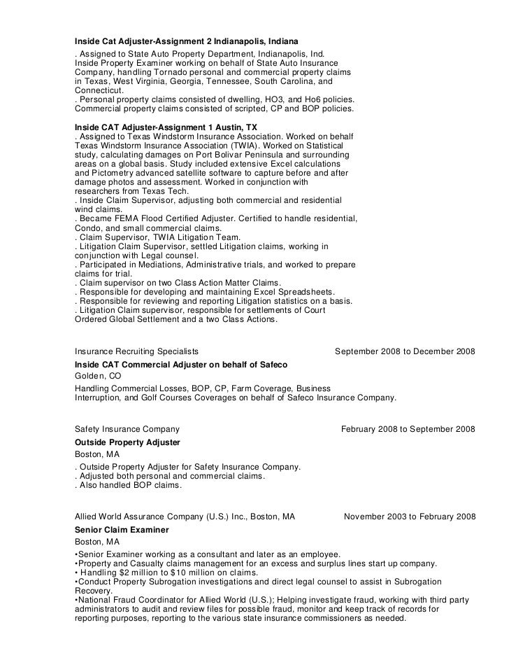 Claim Adjuster Resumes resume examples claims adjuster resume ...