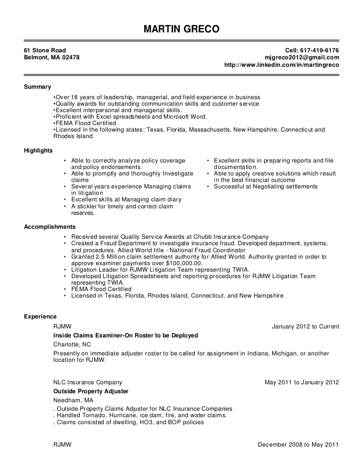 pics photos insurance adjuster resume download doc