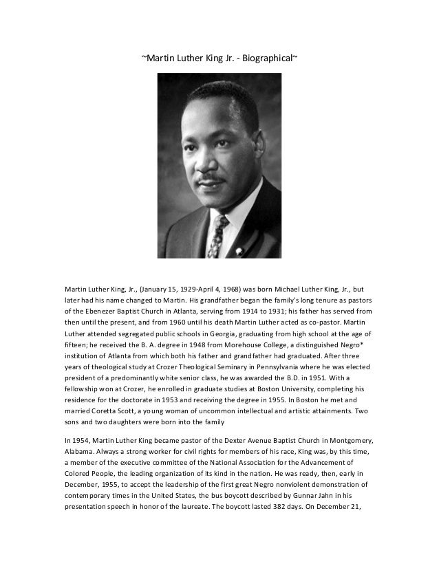 ~Martin Luther King Jr. - Biographical~  Martin Luther King, Jr., (January 15, 1929-April 4, 1968) was born Michael Luther...