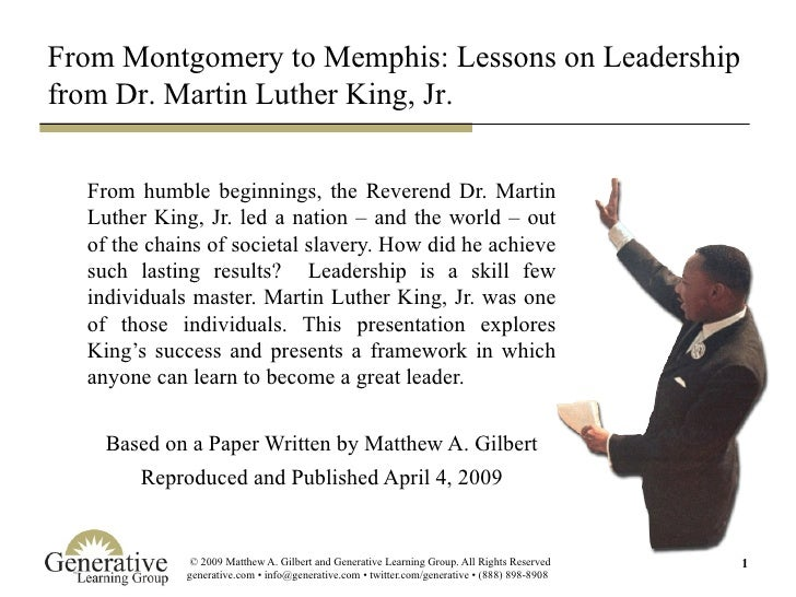 From Montgomery to Memphis: Lessons on Leadership from Dr. Martin Luther King, Jr.