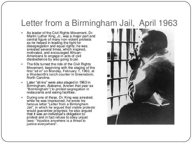 an analysis of dr martin luther kings letter from birmingham jail Dr martin luther king jr's vision for america is illustrated in his words that  remain with  —from 'letter from birmingham jail,' april 16, 1963.