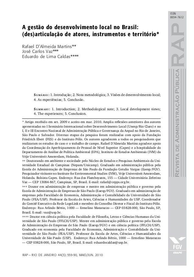 A gestão do desenvolvimento local no Brasil: (des)articulação de atores, instrumentos e território