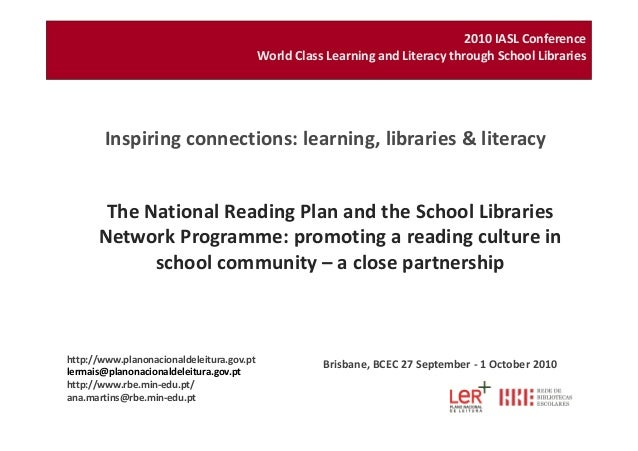 The National Reading Plan and the School Libraries Network Programme: promoting a reading culture in Inspiring connections...