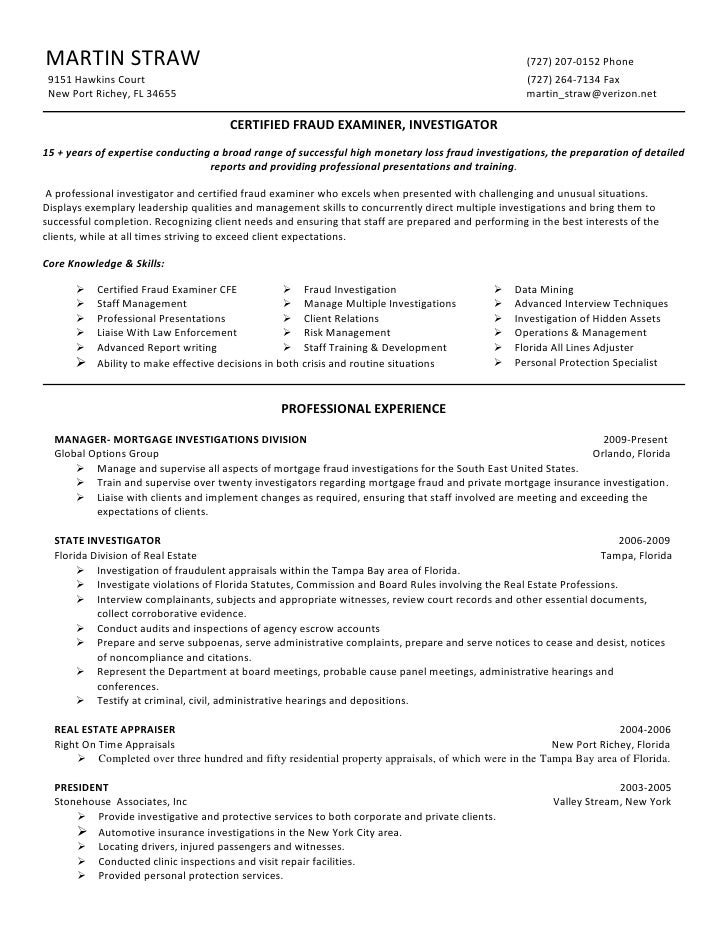 martin straw cfe certified fraud examiner resume