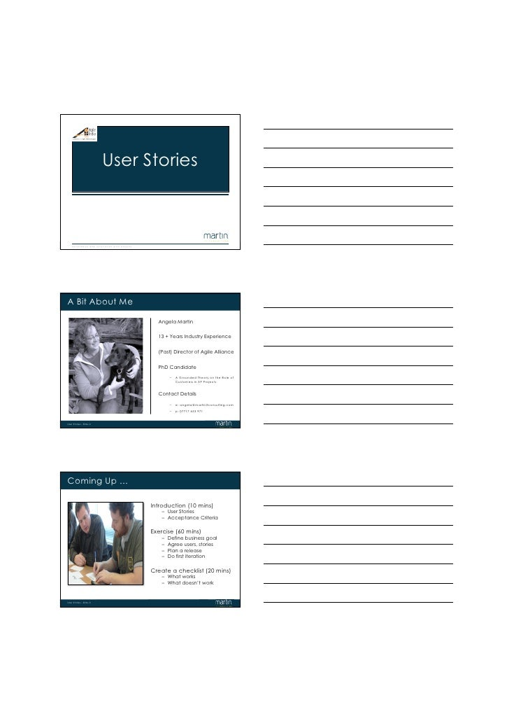 User Stories    Usere x c e l l e Slide 1 n d i n n o v a t i o n w i t h p a s s i o n      Stories - n c e a     A Bit A...