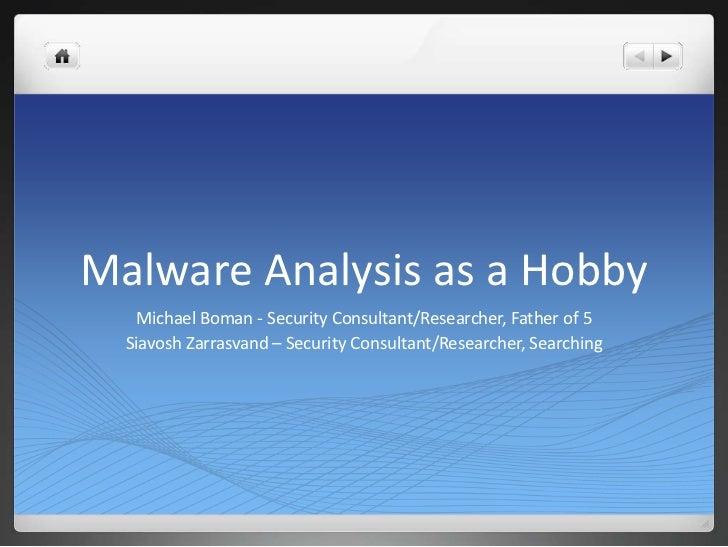 Malware Analysis as a Hobby