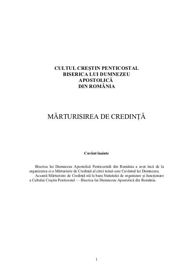 Marturisirea de credinta a Bisericii lui Dumnezeu Apostolică Penticostală din România