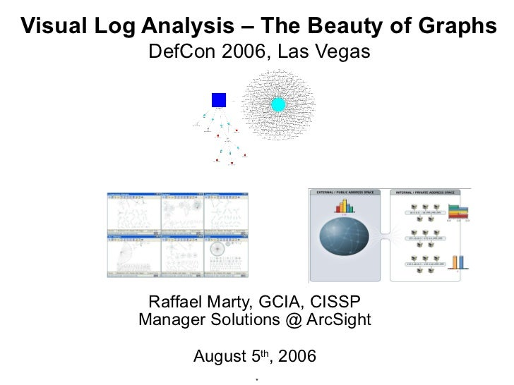 Visual Log Analysis – The Beauty of Graphs           DefCon 2006, Las Vegas           Raffael Marty, GCIA, CISSP          ...