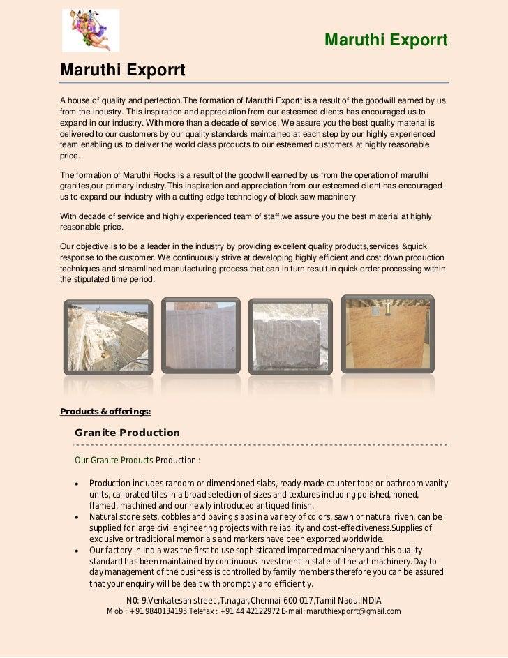 Maruthi exporrt Granite
