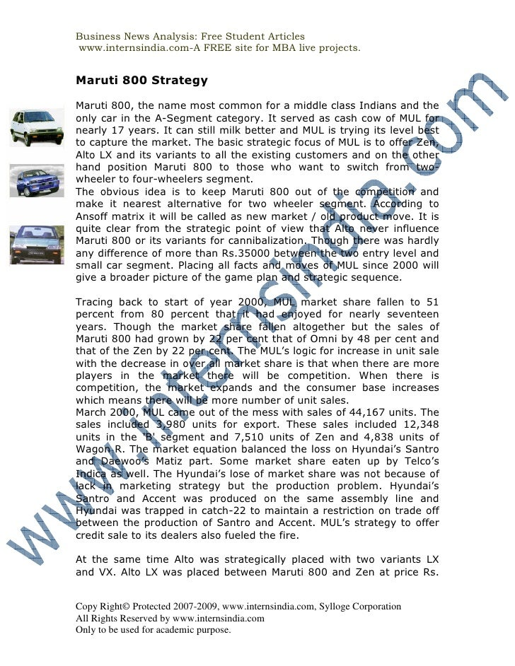 Business News Analysis: Free Student Articles www.internsindia.com-A FREE site for MBA live projects.   Maruti 800 Strateg...