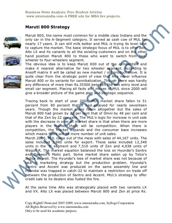 Business News Analysis: Free Student Articleswww.internsindia.com-A FREE site for MBA live projects.Maruti 800 StrategyMar...