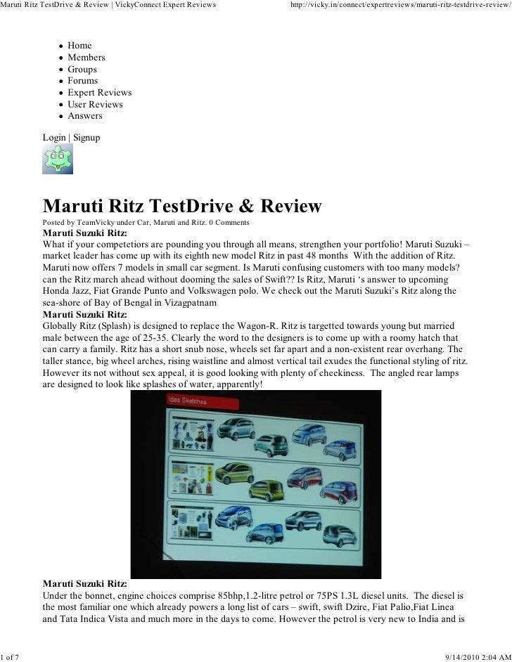 Maruti Ritz TestDrive & Review | VickyConnect Expert Reviews                http://vicky.in/connect/expertreviews/maruti-r...