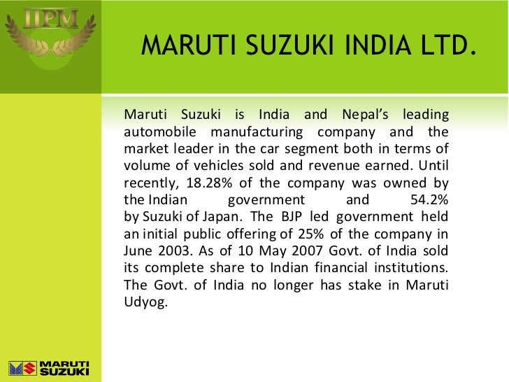 Buy research paper online introduction to maruti suzuki ltd.