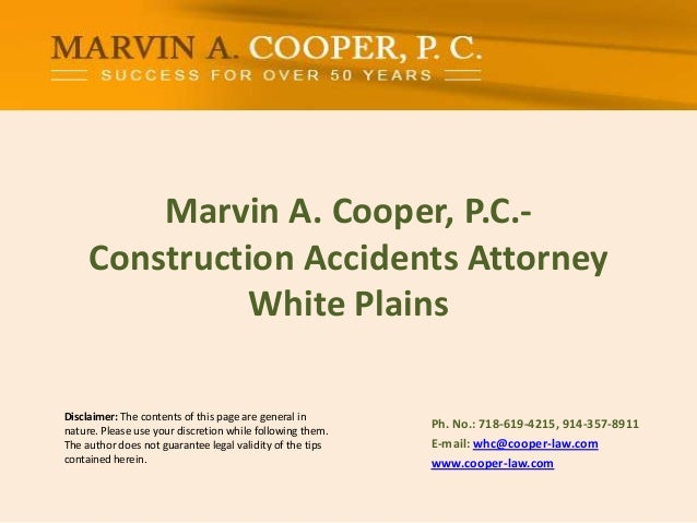 Marvin A. Cooper, P.C.- Construction Accidents Attorney White Plains