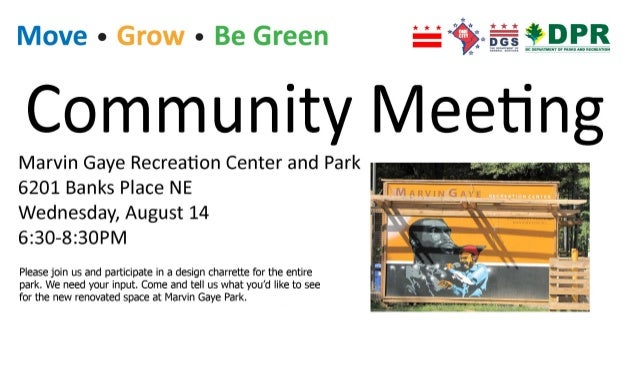 Marvin Gaye Recreation Center & Park Community Meeting Flyer