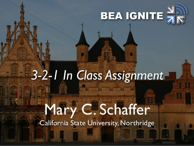 Mary C. Schaffer California State University, Northridge BEA IGNITE 3-2-1 In Class Assignment
