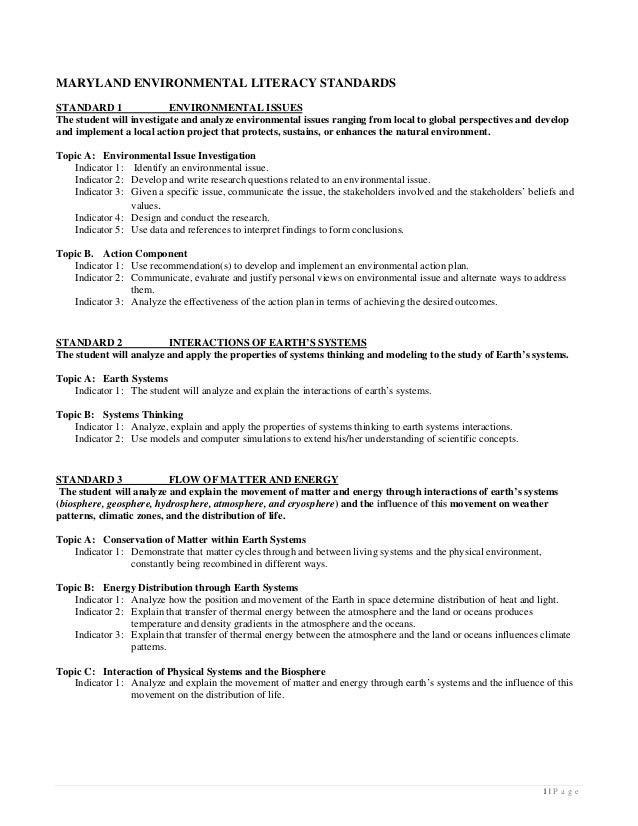 Handout - Maryland Environmental Literacy Standards