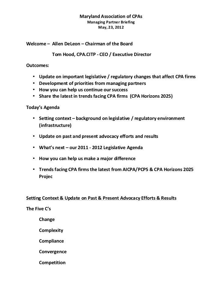 Maryland Major Firms Group meeting - May 2012