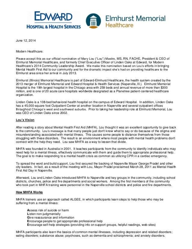 Mary Lou Mastro – 2014 nominee for Modern Healthcare's Community Leadership Award