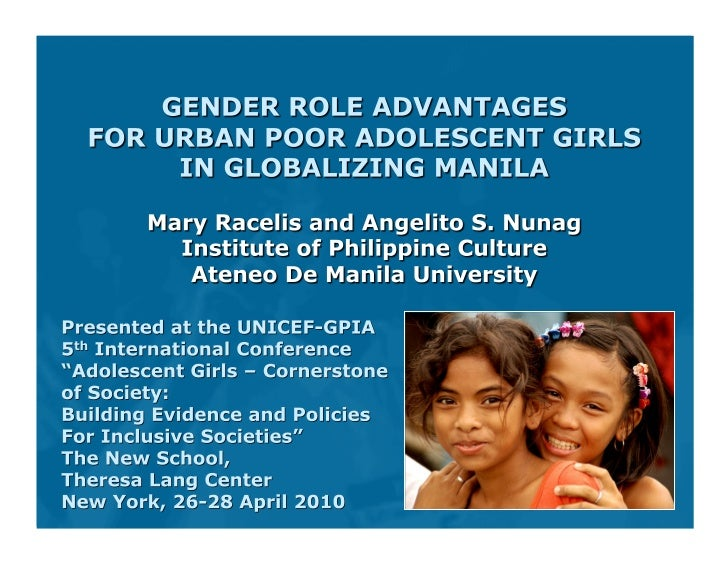  Gender literature generally shows adolescent girls   as disadvantaged vis-à-vis adolescent boys   A study of young pe...