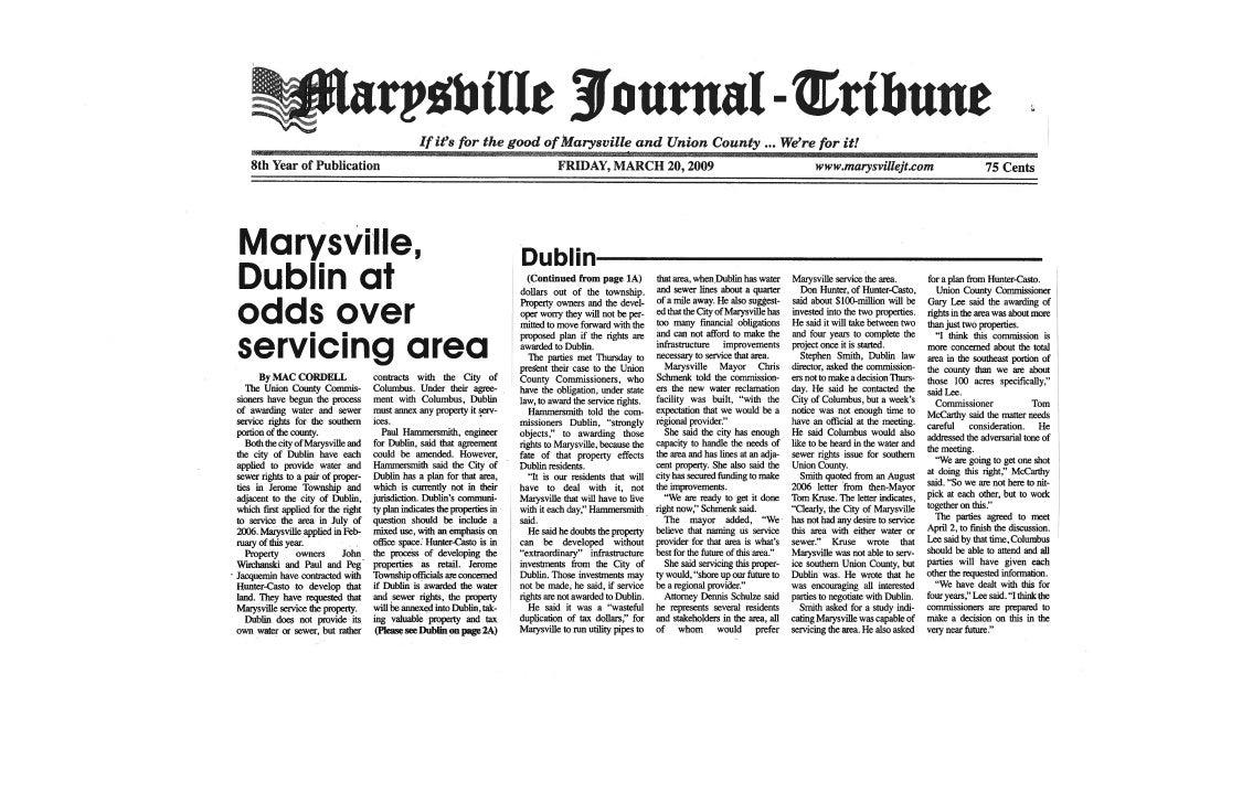 Marysville Dublin News Article