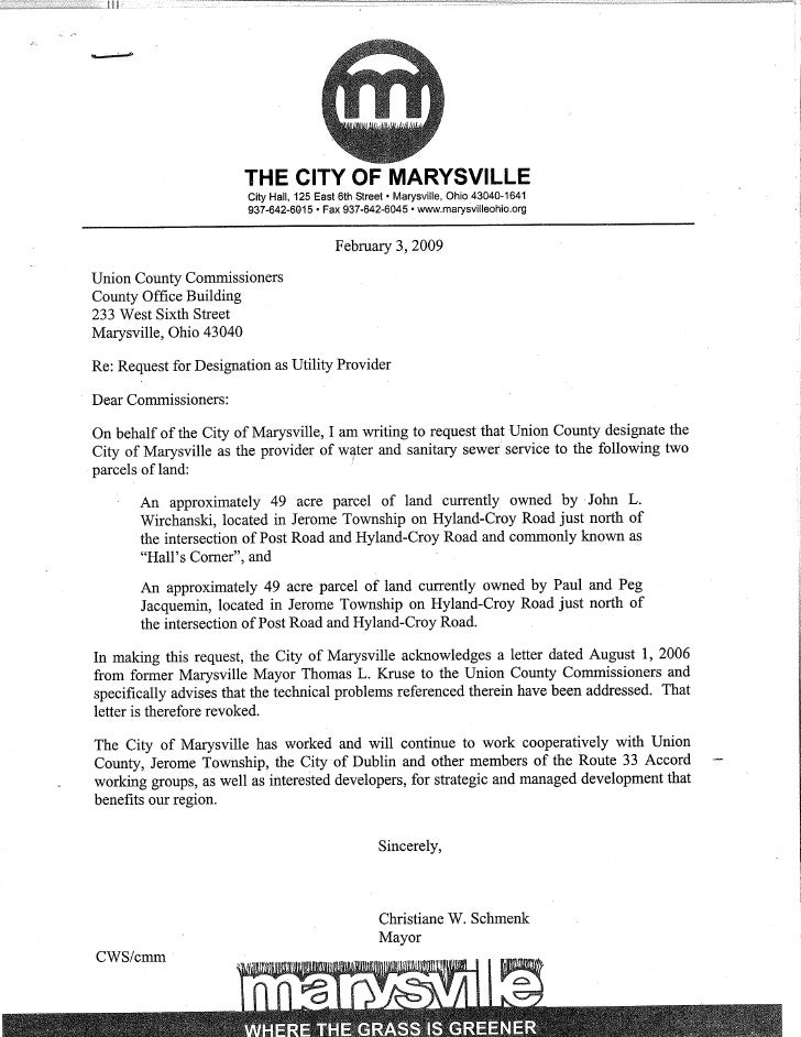 Marysville Request Letter