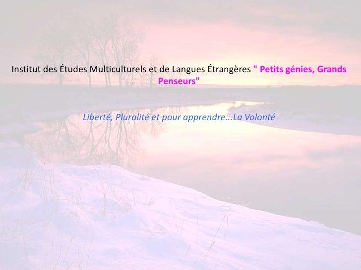 """Institut des Études Multiculturels et de Langues Étrangères """" Petits génies, Grands                                     Pe..."""