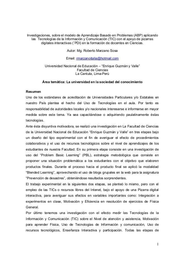 Investigaciones, sobre el modelo de Aprendizaje Basado en Problemas (ABP) aplicando  las Tecnologías de la Información y C...