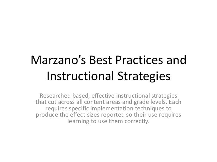 Marzano'S Best Practices And Instructional Strategies