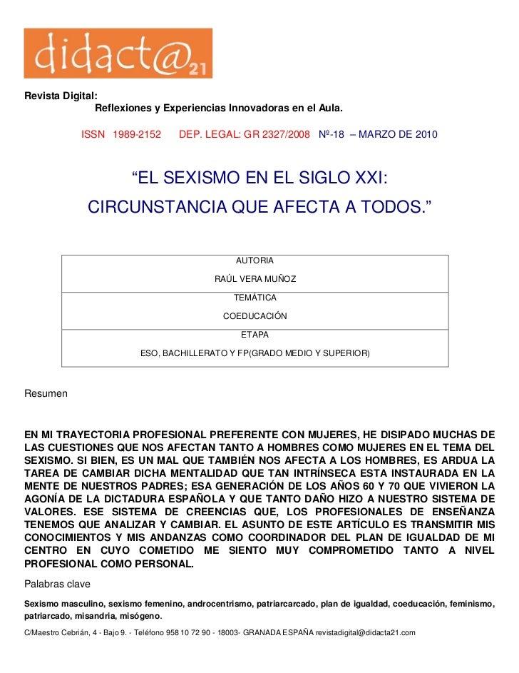 Revista Digital:               Reflexiones y Experiencias Innovadoras en el Aula.               ISSN 1989-2152            ...
