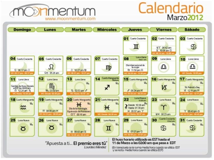 Calendario Astrológico Moonmentum Marzo 2012