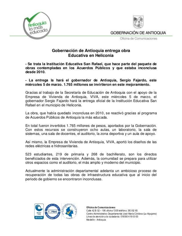 Gobernación de Antioquia entrega obra Educativa en Heliconia - Se trata la Institución Educativa San Rafael, que hace part...