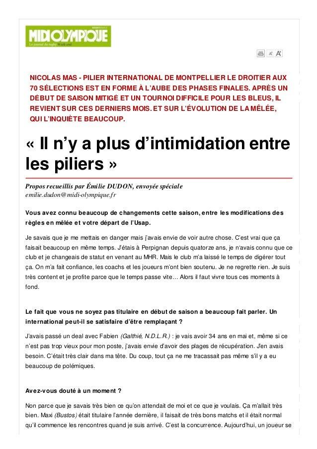 NICOLAS MAS - PILIER INTERNATIONAL DE MONTPELLIER LE DROITIER AUX 70 SÉLECTIONS EST EN FORME À L'AUBE DES PHASES FINALES. ...