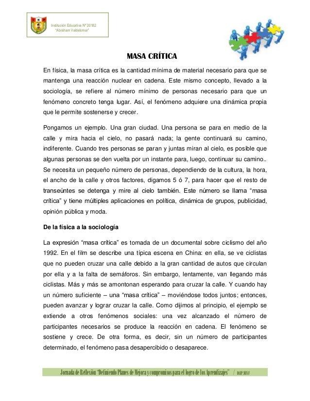 """Institución Educativa Nº 20182 """"Abraham Valdelomar""""  MASA CRÍTICA En física, la masa crítica es la cantidad mínima de mate..."""