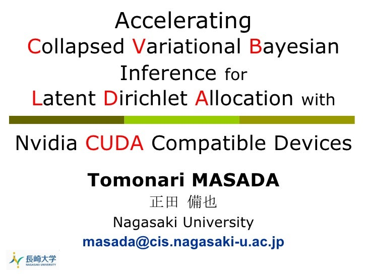 Accelerating Collapsed Variational Bayesian Inference for Latent Dirichlet Allocation with Nvidia CUDA compatible devices