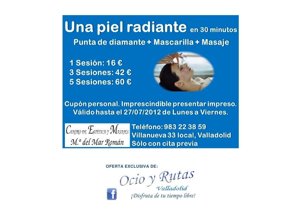 Masajes relajantes tratamientos de belleza y facial  centro de estetica mar roman ocio y rutas valladolid