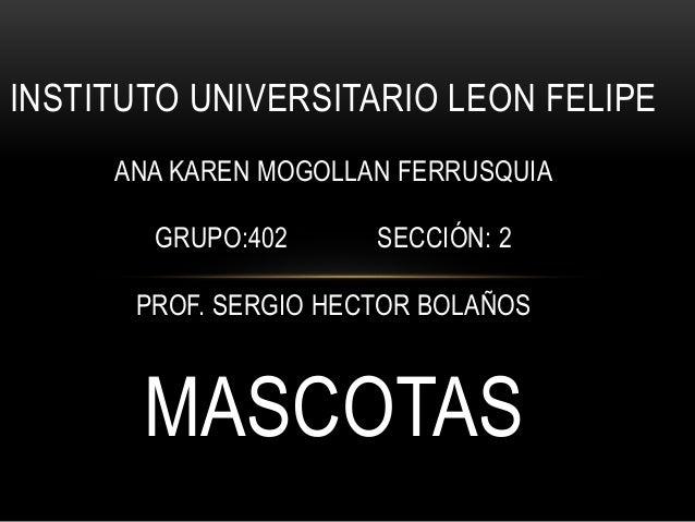 INSTITUTO UNIVERSITARIO LEON FELIPE ANA KAREN MOGOLLAN FERRUSQUIA GRUPO:402 SECCIÓN: 2 PROF. SERGIO HECTOR BOLAÑOS MASCOTAS