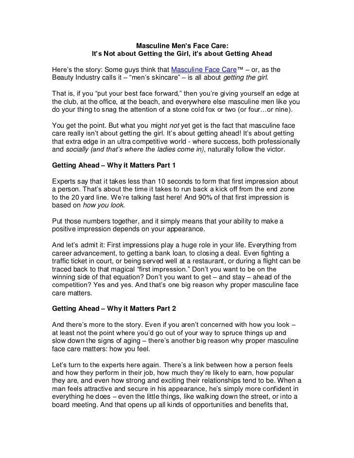 Masculine Mens Anti-Aging Face Care: It's Not About Getting the Girl, It's About Getting Ahead By Face Lube Candace Chen
