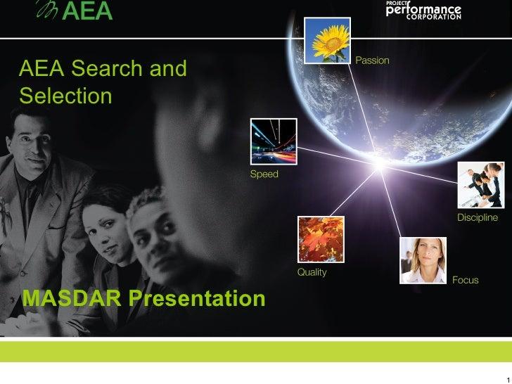 MASDAR Presentation AEA Search and Selection
