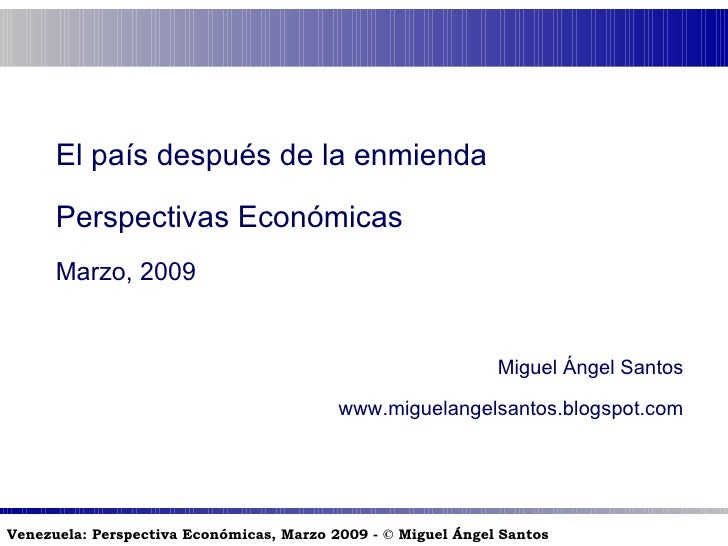 Venezuela después de la Enmienda: perspectivas económicas