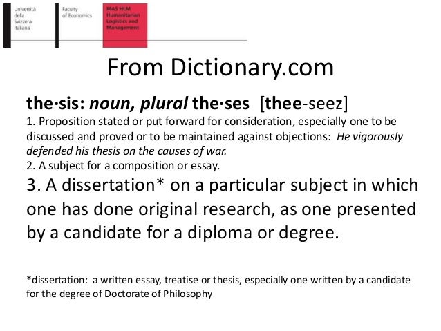 nouns doctoral dissertation Define dissertation: an extended usually written treatment of a subject specifically : one submitted for a doctorate — dissertation in a sentence.