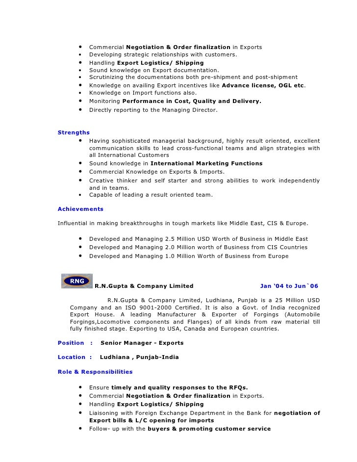 Awesome Import Export Manager Resume Contemporary - Best Resume ...