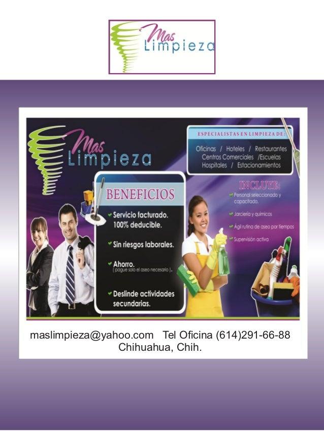 Servicios de Limpieza de Oficinas, Chihuahua Chih. Tel Oficina (614) 2 91 66 88