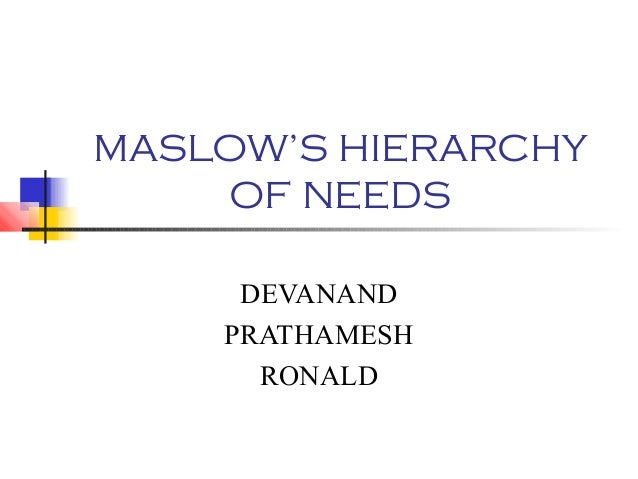 MASLOW'S HIERARCHY OF NEEDS DEVANAND PRATHAMESH RONALD