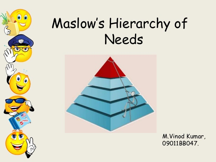 "Maslow""s Hierarchy of        Needs                 M.Vinod Kumar,                 09011BB047."