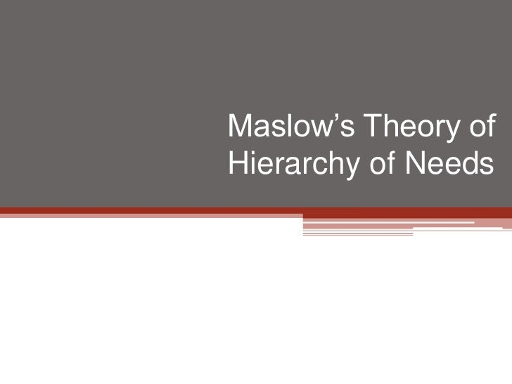 Maslow's Theory ofHierarchy of Needs