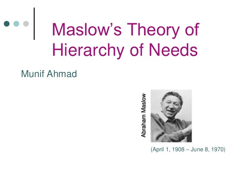 Maslow's Theory of      Hierarchy of NeedsMunif Ahmad                Abraham Maslow                                 (April...