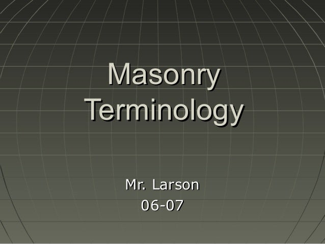 Masonry terminology 1
