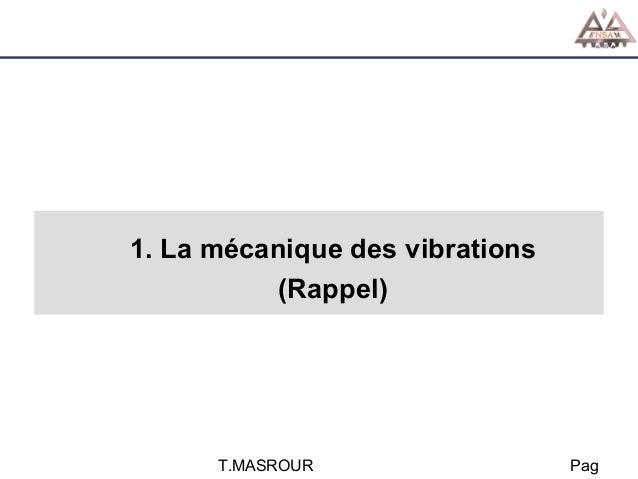 1. La mécanique des vibrations (Rappel)  T.MASROUR  Pag